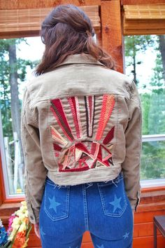 This hand-embroidered corduroy crop jacket is perfect for any sun-loving babe. Woman's size Small. Denim Jacket Embroidery, Embroidered Denim Jacket, Handmade Clothes, Custom Clothes, Painted Denim Jacket, Denim Ideas, Origami Wallet, Painted Jackets, Custom Jackets