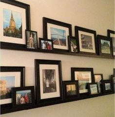 Previous Pinner: My gallery wall with travel photos. Pottery Barn was my inspiration, but I used IKEA shelves instead to save big money! Photo Shelf, Picture Shelves, Ikea Picture Ledge, Photo Ledge, Picture Walls, Wedding Photo Walls, Wedding Wall, Wedding Photos, Travel Gallery Wall