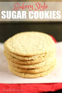 Bakery Style Sugar Cookies. Soft, chewy, easy to make and delicious. The recipe can also be finished and the cookies ready to eat in 20 minutes or less!