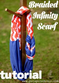Braided Infinity Scarf Tutorial plus some really cute sewing tutorials, Girl Charlee Fabrics Fabric Crafts, Sewing Crafts, Sewing Projects, Infinity Scarf Tutorial, Sewing Scarves, Diy Cadeau, Braided Scarf, Ideas Prácticas, Diy Scarf