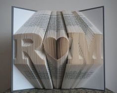 Folded book sculpture anniversary gift st wedding by bookart