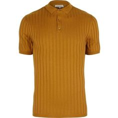 River Island Dark yellow ribbed muscle fit polo shirt ($24) ❤ liked on Polyvore featuring men's fashion, men's clothing, men's shirts, men's polos, jumpers, yellow, mens tall polo shirts, mens tall shirts, mens short sleeve shirts and mens yellow shirt