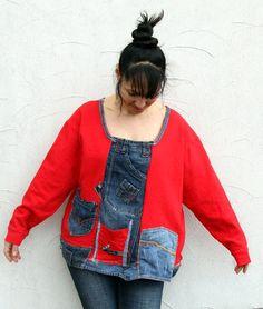 L-XXL crazy denim jeans recycled appliqued blouse von jamfashion