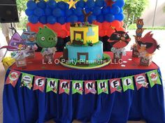 Angry Birds birthday party decorations and dessert table!  See more party ideas at CatchMyParty.com!