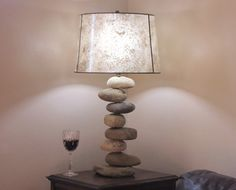 Rock Lamp Large with Offset Stones Stacked by DriftRockBay on Etsy