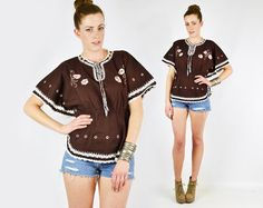Brown Caftan Top Caftan Blouse Tunic Top Batik by trashyvintage, $38.00