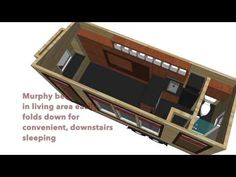180 Sq. Ft. Yosemite Tiny House on Wheels.  Says you can have a murphy bed put on the downstairs so the upstairs loft could be storage.