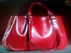 Leather Shoulder Handbag/ Red