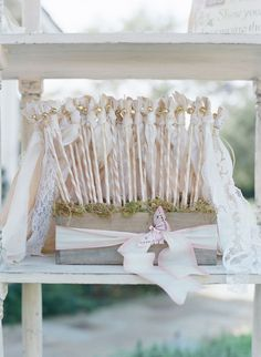 Fairy-Tale Wedding with Enchanted Forest Theme in Santa Barbara – Teresa Wooden Fairy-Tale Wedding with Enchanted Forest Theme in Santa Barbara Wedding Wands with Vintage Ribbons Wedding Favor Sayings, Vintage Wedding Favors, Best Wedding Favors, Wedding Themes, Wedding Decorations, Flower Decorations, Wedding Ideas, Wedding Ribbon Wands, Enchanted Forest Theme