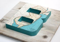 Large Vintage Map Letter Monogram on Reclaimed Wood
