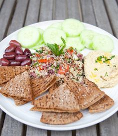 YUM. Quinoa Tabbouleh served with baba ghanoush or hummus, cucumber, kalamata olives and toasted pita bread! - A House in the Hills