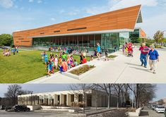 Exterior Facaded - Before and After - Lawrence Public Library - 2030 Architecture - Gould Evans