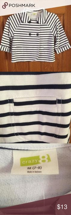 🎀NWT Crazy 8 Jacket🎀 Adorable black & white striped jacket by Crazy 8. NWT! Size youth M (7/8). Smoke FREE home as always! 💕 Crazy 8 Jackets & Coats Blazers