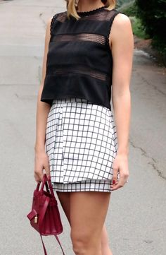 Grid skirt paired with a crop top