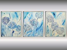 "Abstract Flower Painting Large 51""  White Blue Blossom Painting Framework included 3 parts Modern Acrylic Painting Landscape Fine Art by EttisGallery on Etsy"
