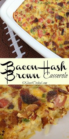 Perfect for brunch or holidays, this Bacon Hash Brown Casserole is great for making the day ahead. Just pop it into the oven the next day and smell the delicious aroma fill your kitchen. Bacon Egg And Cheese Casserole, Bacon Hash, Brunch Casserole, Hash Brown Casserole, Casserole Recipes, Bacon Recipes, Brunch Recipes, Breakfast Recipes, Breakfast Dishes