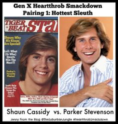 HEARTTHROB SMACKDOWN has begun with a bang.  Hardy Boys are up against each other for round one!   In the left corner it's Shaun (da do run run) Cassidy  And in the right corner, it's the bright eyed, pearly toothed preppy, Parker Stevenson whose perfectly feathered hair made Farrah jealous.  Ding Ding Ding (that was the start of the round) #heartthrobSmackdown #TBT - GO! #genX #1980s #ilovethe80s #humor Follow the Smackdown at http://facebook.com/ilovejennyfromtheblog