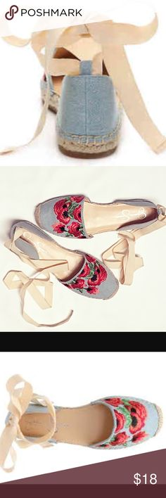 ⬇️PRICE DROP - Jessica Simpson Espadrille Flats! 💐Gorgeous shoes, worn once. Features denim upper, wrap around ankle tie, embroidered floral detail, round toe, cushioned insole, and espadrille midsole. Jessica Simpson Shoes Espadrilles