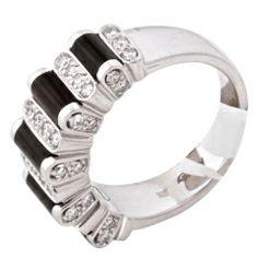 ASPREY White Gold Diamond Onyx Ring