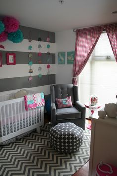 {Kennadie's Room} Loving these striped walls! Perhaps this as an accent wall, the other walls pink!?