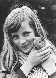 Young Princess Di and guinea pig
