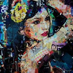 Derek Gores collage, female portrait. Magazine cutouts. Collage art.