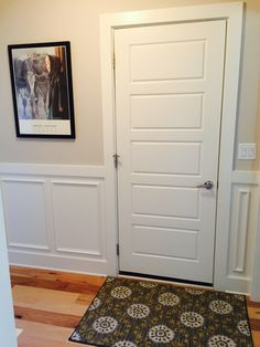 Entry from garage. SW Modern Gray on walls, SW Alabaster on door, wainscoting and trim. Best Wall Colors, Paint Color Schemes, Favorite Paint Colors, Interior Paint Colors, Paint Colors For Home, Modern Gray Sherwin Williams, Home Wall Colour, Accessible Beige, Building A New Home