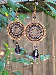 Beaded earrings-Swarovski Crystals Earrings-Boho earrings-Beadwork Earrings-Round earrings-Beaded H Dangly Earrings, Swarovski Crystal Earrings, Round Earrings, Chandelier Earrings, Hoop Earrings, Earrings Handmade, Handmade Jewelry, Schmuck Design, Bead Weaving