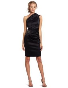 Eliza J Women's One Shoulder Satin Side Ruched Dress $168.00