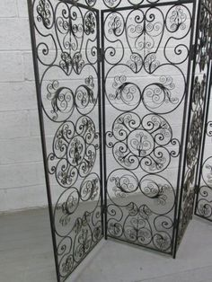 Wood And Wrought Iron Room Screen Metal Scroll Work 3