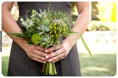 10-Gray & Green Wedding, Green Bouquet