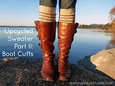 Upcycled Sweater Tutorial Part II: Boot Cuffs via www.darlingadventures.com #upcycling #sewing