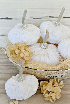 Vintage Chenille Pumpkins by timewashed