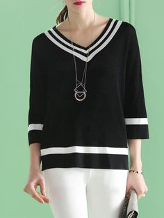 Black Knitted V Neck Casual Blouse