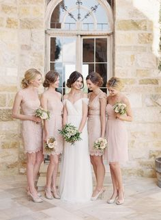 The Mia Gown and Blush Lace & Tulle Bridesmaid Dresses by @jennyyoo Photography: Caroline Tran | Florals: Coco Rose Design | Hair + Makeup: TEAM Hair & Makeup: