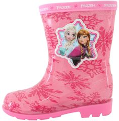 """Disney Frozen Elsa Anna Sister Love Girls Pink Rain Boot Shoes (Toddler/Youth) (9.5 M US Toddler). Runs small. Please order 1 size larger. Rubber. Heel measures approximately 0.8"""". Authentic Disney Frozen. Parallel Imports."""