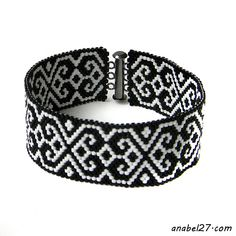 Украшения из бисера от Anabel: Черно-белый браслет с орнаментом - монохромный бра...