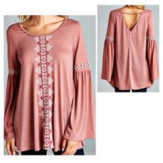 "Embroidered Bell Sleeve Top Beautiful embroidery on lightweight bell sleeve top. Small back opening. Bust 40"" / length 21"". Pastel B Chic Tops"