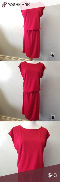 Talbots Drop Waist dress In perfect condition, red talbots sleeveless drop waist skirt.  21in from waist down 13in from armpit to waist 35in from armpit all the way to the bottom. 96%polyester 4% spandex Talbots Dresses Midi
