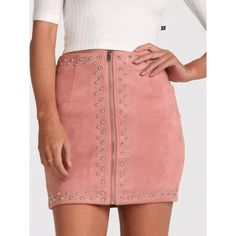 Pink Faux Suede High Waist Studs Zip Up Front Pencil Mini Skirt ($37) ❤ liked on Polyvore featuring skirts, mini skirts, mini pencil skirt, short pencil skirt, high waisted short skirts and red mini skirt