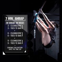 Crossfit 7 min AMRAP- 3 clean and jerks 3 toes to bar. 6 clean and jerks 6 toes to bar. Keep adding 3 reps to each until time runs out. RXd for women Crossfit Open Workouts, Crossfit Kids, Wod Workout, Crossfit Women, At Home Workouts, Workout Ideas, Bootcamp Ideas, Workout Exercises, Elite Fitness