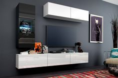 Meblościanka Kors C12 - biały mat/połysk + czarny mat/połysk  #furniture #concept #c12 #kors #TVset #livingroom #meble #polsiemeble #sklepmeble