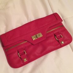 olivia + joy Rendezvous clutch olivia + joy clutch. The clasp is a little loose but never been used (it was a sample). :)cute cherry red and zipper/gold details. Called Rendezvous clutch Olivia + Joy Bags Clutches & Wristlets