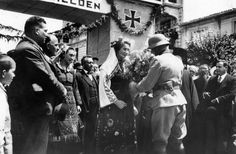 Authorities of a Bulgarian city solemnly welcome a German commander. The photo was taken at the time of the entry of German troops into Bulgaria for further attacks from its territory against Yugoslavia and Greece, March-April 1941.