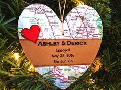 Personalized Engagement Ornament, Custom Newly Engaged Ornament, Map Ornament Engagement Gift For Couple, Engaged Christmas Gift by AtHomeWithWords on Etsy https://www.etsy.com/listing/482440772/personalized-engagement-ornament-custom