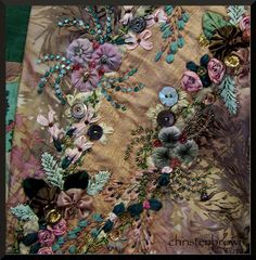Ribbonwork flowers and silk ribbon embroidery with vintage buttons and beads.