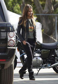 Jessica Alba wearing isabel marant BEKETT wedge sneakers in Black, Kenzo Tiger Embroidered Cotton Sweatshirt,