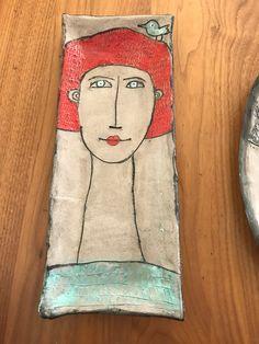 Ceramic plates woman portrait