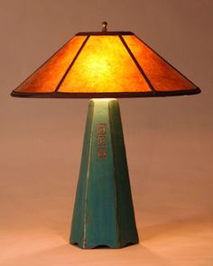 Six Sided Lamp In Viridian With Freehand Design: Jim Webb: Ceramic Table  Lamp