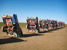 This is the Cadillac Ranch, an art installation on the fabled Route 66 that runs across the United S... - Richie Diesterheft